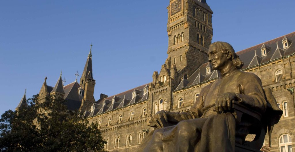 John Carroll statue in front of Healy Hall