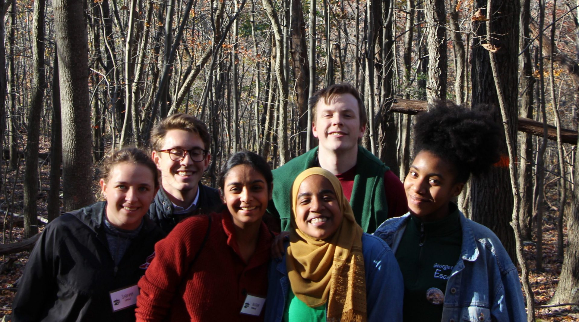 a group of students in the woods