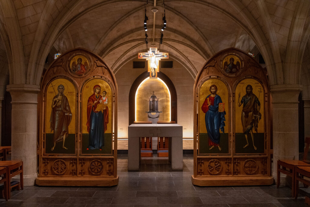 The new religious icons for the Orthodox Christian worship space, Copley Crypt, are delivered and installed.